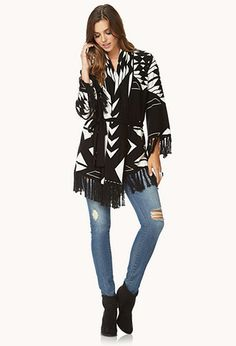 Out West Fringed Cardigan w/ Belt | FOREVER21 - 2000074447