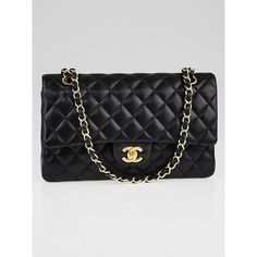 Pre-owned Chanel Black Quilted Lambskin Leather Classic Medium Double... ($3,795) ❤ liked on Polyvore featuring bags, handbags, preowned handbags, quilted chain bag, lambskin leather purse, chain purse and lambskin handbag