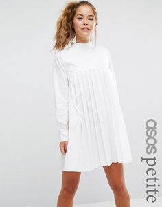 Buy ASOS PETITE Long Sleeve Cotton Pleated Dress at ASOS. With free delivery and return options (Ts&Cs apply), online shopping has never been so easy. Get the latest trends with ASOS now. Long Sleeve Cotton Dress, White Long Sleeve Dress, Cotton Dresses, Pleated Dresses, Dress Long, Loose Dresses, Loose Fit, Asos Fashion, Womens Fashion