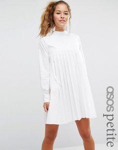 ASOS Petite | ASOS PETITE - Vestito a maniche lunghe in cotone a pieghe