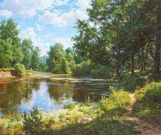 "Photo from album ""ЖИВОЕ ПИСЬМО"" on Yandex. Fantasy Landscape, Landscape Art, Landscape Paintings, Watercolor Artists, Watercolor Landscape, Cool Landscapes, Beautiful Landscapes, Acrylic Painting Inspiration, Sky Painting"