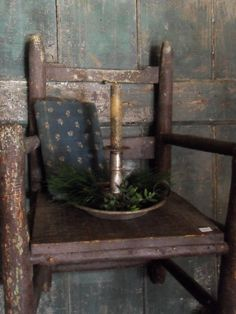 Childs chair with candle