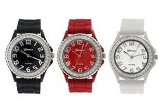 Geneva Platinum Silicone Band CZ Watch Set Black White Red ** Check out the image by visiting the link.Note:It is affiliate link to Amazon.