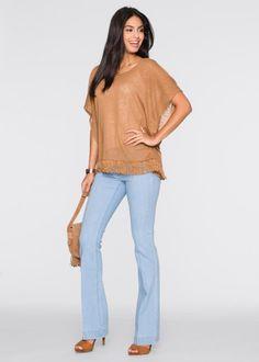 Poncho Shirt mit Fransen, BODYFLIRT, medium camel