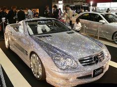 Mercedes SL, spotted at an auto show overseas. From a distance, it almost appears that the car is coated in glitter,but it is actually covered in diamonds. My Dream Car, Dream Cars, Dream Big, Dkw Munga, Bling Bling, Bling Car, Baby Bling, Glitter Car, Glitter Shoes