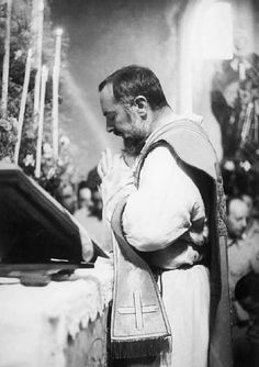 Padre Pio celebrating Holy Mass.