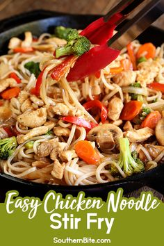 This Easy Chicken Noodle Stir Fry is the perfect dinner recipe for a busy weeknight. It comes together quickly and is packed with tons of great Asian flavor. Chicken Stir Fry With Noodles, Stir Fry Noodles, Ramen Noodles, Asian Recipes, Ethnic Recipes, Chinese Recipes, Chinese Food, Noodle Recipes, Southern Recipes