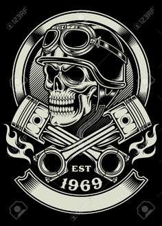 34316913-Vintage-Biker-Skull-With-Crossed-Piston-Emblem-Stock-Vector-motorcycle.jpg (935×1300)