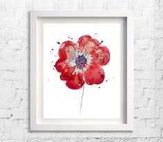 Watercolor Painting Fine Art Red Flower Art by Watercolorflower