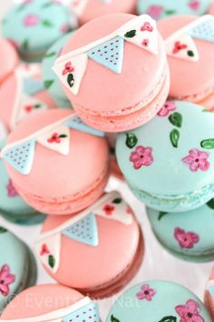 Hand painted macarons for shabby chic fist birthday party - http://www.karaspartyideas.com/2014/02/shabby-chic-first-birthday-party.html