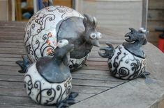 Poules en Raku nu