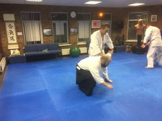 Here Colin Jardine is leading Chris McGrath into an arm pin after Chris tried to punch him in the stomach. This was in the Tuesday 8-9pm class at Martin Acton's Aikido Institute in Dromore BT251AA. Lessons available six days a week for the whole family.