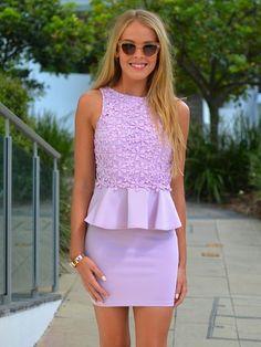 Lavender Peplum Dress 2017 Street Style