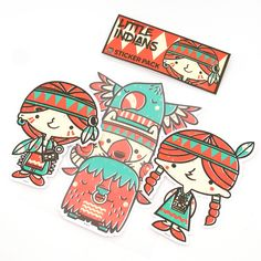 HEYKIDS LITTLE INDIANS STICKER PACK 2016 available now! DESCRIPTION: Removable Without Residue High quality White vinyl material Weather resistant Water-proof Each sticker is around 4 inch by 5 inch 1 order is a pack of 3 different character stickers