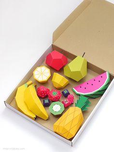 Plantillas para crear frutas de papel >> Play Fruit Templates - Mr Printables