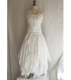 shabby chic wedding dresses | ... Dress Upcycled Woman's Clothing Shabby Chic Funky Eco Style MADE TO. Just missing cowboy boots.