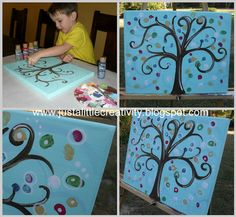 "Thumbprint Tree (Great idea for ""family tree"") Cute Crafts, Crafts To Do, Crafts For Kids, Arts And Crafts, Children Crafts, Creative Crafts, Creative Ideas, Auction Projects, Craft Projects"