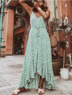 Sexy Bohemian Flounce Print Sling Maxi Dress – modewish holiday dresses party,printed maxi dress,fancy maxi dress SKU Brand Name modewish length_cm bust_cm inch cm inch cm s 39 100 33 84 m 40 102 35 88 l 41 104 36 92 xl 42 106 38 96 Polka Dot Maxi Dresses, Floral Maxi Dress, Dot Dress, Boho Maxi Dresses, Mode Ootd, Casual Dresses, Summer Dresses, Holiday Dresses, Long Dresses