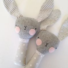 luckyjuju baby bunny rattle grey with floral ears by luckyjuju