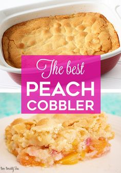This delicious peach cobbler recipe is a summertime favorite! Made with only 7 ingredients, it's quick and easy to make! Make with fresh or frozen peaches. Good Peach Cobbler Recipe, Best Peach Cobbler, Köstliche Desserts, Delicious Desserts, Dessert Recipes, Dump Cake Recipes, Nutella Recipes, Pie Recipes, Easy Recipes