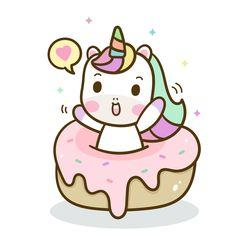 Cute Unicorn cartoon donut cake Happy birthday, Kawaii animal pony cartoon, love sweet,Nursery decor - Cute Unicorn cartoon for kid, room decoration - Animals Doodles Kawaii, Cute Kawaii Drawings, Cute Animal Drawings, Cute Kawaii Animals, Cute Cartoon Animals, Cartoon Kids, Cute Unicorn, Unicorn Art, Unicorn Wallpaper Cute