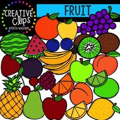 This 45-image set if full of tasty fruit! Included are 25 vibrant, colored images and 20 black and white versions.Images include:- watermelon- watermelon slice- lemon- lemon slice- orange- orange slice- lime- lime slice- peach- nectarine- grapes- raspberries - blueberries- bananas- strawberry- plum- pineapple- apple- pear- kiwi (whole and half)- cherryLooking for other food clipart?