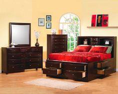 Phoenix Contemporary Storage Queen Bed