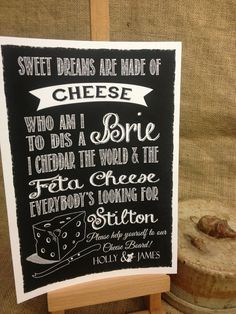 CHEESE SONG for board PERSONALISED chalkboard style print sign WEDDING PARTY
