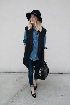 Sleeveless Blazer Outfit, Long Vest Outfit, Blazer Outfits, Dress Shirt, Shirt Outfit, Sleeveless Jacket, Denim Outfit, Fall Outfits For Work, Casual Fall Outfits
