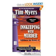 Lighthouse Inn Mysteries by TIM MYERS:  When is a lighthouse only allowed to shine once a year? When it's in the Blue Ridge mountains. This series is low-key, no gory details, and the innkeeper is a 30-something MAN. If you can overlook the mention of the name of inn's name on nearly every page, it's a relaxing read!