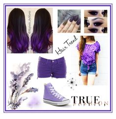 """""""#Purple Hair Trend"""" by jacqueline-w ❤ liked on Polyvore featuring beauty, J Brand and Converse"""