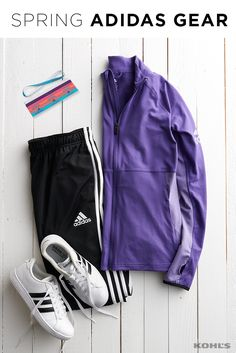 Layers are key for spring workouts. Be prepared for any outdoor workout with this adidas jacket and pants. Featured product includes: adidas zip-up jacket, soccer pants, stripe shoes and headband set. Get fit with Kohl's.