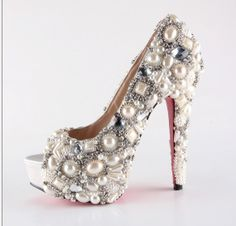 Handmade Super high heels crystal and pearl shoes ivory for wedding or party by ShopSimple Pearl Shoes, Bling Shoes, Sparkle Shoes, Crazy Shoes, Me Too Shoes, Fab Shoes, White Shoes, Women's Shoes, Diy Wedding Shoes