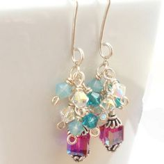 SS Swarovski Crystal Earrings- absolutely love this color combo!!!