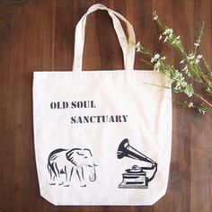 Kick back to the gramophone and ponder with like minded creatures. Old Soul Sanctuary tote bag by Grafeeq Uni Bag, Cotton Tote Bags, Reusable Tote Bags, Painted Bags, Gym Gear, Old Soul, Market Bag, Creatures, Gym Wear