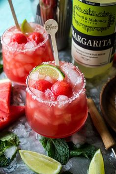 This Watermelon Mint Margarita is the perfect cocktail to celebrate Cinco de Mayo! It's fun, fresh and fruity!