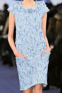 Chanel SS 2012 Blue. Boucle. Dress. Shift. Pockets. Chic