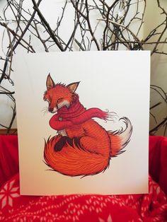 Winter Fox Illustration - Digital Print on Ivory Laid Card Fox Illustration, Illustrations, Pet Fox, Good Morning Sunshine, Fox Print, Winter Garden, Digital Prints, A4, Ivory