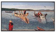 Wendy Halsall A Tribal Journey hooked rug depicting First Nations journey Vancouver BC