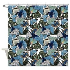 Blue Butterfly Shower Curtain  allover blue by ArtfullyFeathered