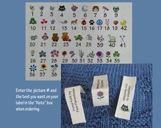 Personalized Knitting labels, Crochet labels or Handmade Labels-Vertical-Top Hem-Loop Label