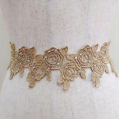Rhinestone gold flower sash, Lace wedding sash, Rose sash, Bridal dress sash, Bridal gown sash, Golden floral sash, Bling belt, Beaded belt