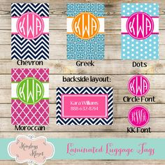 Bag Luggage Tags, Chevron, Greek, Dots, Moroccan, Personalized Bag Tags, Luggage tag, Bridesmaids gifts Monogrammed Personalized on Etsy, $7.00