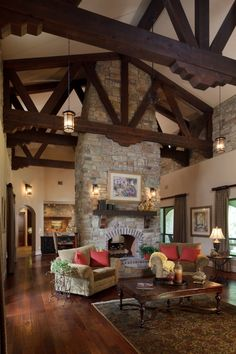 Living Room - vaulted ceiling, beams, lighting