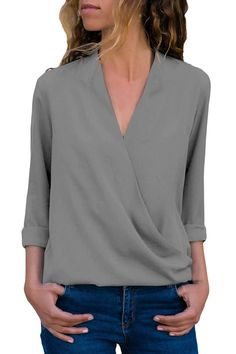 92cbec0da5 Grey Wrap Front Long Sleeve Blouse