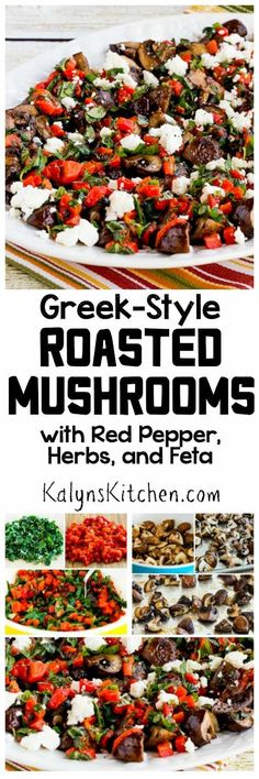 Greek Style Roasted Mushrooms with Red Pepper, Herbs, and Feta (Video) – Kalyn's Kitchen Side Dish Recipes, Low Carb Recipes, Diet Recipes, Vegetarian Recipes, Cooking Recipes, Healthy Recipes, Side Dishes, Tasty Dishes, Veg Dishes