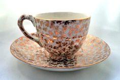 Vintage Porcelain Collectible Gold Shamrock Demitasse Cup and Saucer EMPIRE