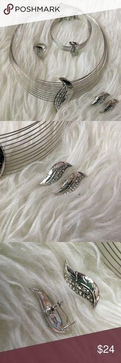 5-Piece Silver Choker Set Five-piece set comes with a Choker, bracelet, ring (adjustable), and two earrings. Jewelry Necklaces
