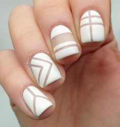 For a more interesting naked-nail design, you could try using a slightly hazy colorless nail polish with little glitters for the base. Then you can begin making patterns with your white nail polish and strips of tape.