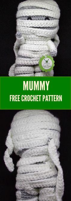 Sewing Stuffed Animals Crochet your own mummy. - Crochet your own super cute mummy plush. Crochet Gratis, Crochet Amigurumi Free Patterns, Crochet Blanket Patterns, Crochet Stitches, Knitting Patterns, Crochet Fall, Holiday Crochet, Cute Crochet, Crotchet